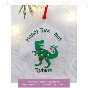 Happy Rex mas bauble Dino