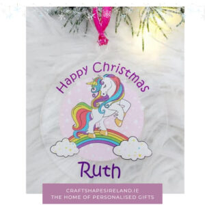 Personalised Unicorn bauble Clear