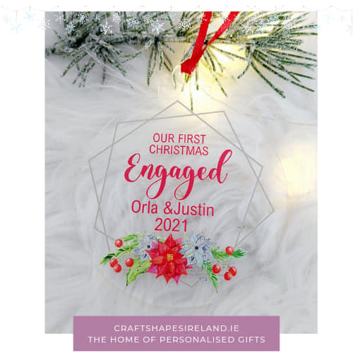 Personalised First Christmas Engaged clear