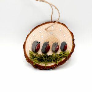 Pebble Art/Robin Family/Hanging Decoration