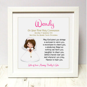 As Cute as a Button Personalised Framed Prints communion keepsake