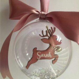 Reindeer bauble plain background