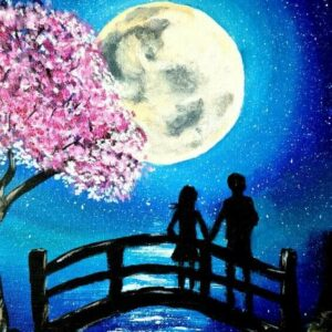 full moon and cherry blossom painting