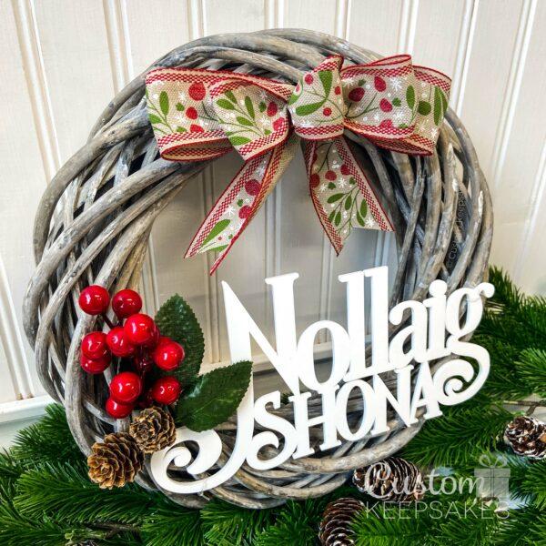 XMW002 - Nollaig Shona Wicker Wreath 2