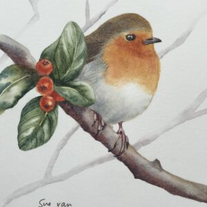 Robin painting: Perched in the Berries