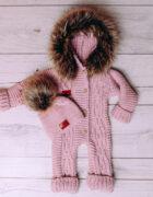 Baby Aplaca Pramsuit in Dusty Pink (2)