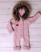 Baby Aplaca Pramsuit in Dusty Pink (1)
