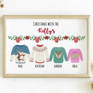 Merry Christmas illustration in a frame mockup