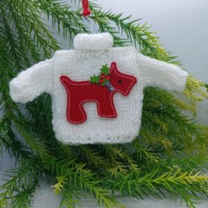 White Mini Christmas Jumper with Red Dog