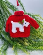 Red Mini Christmas Jumper with White Dog